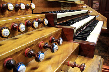 a vintage church organ